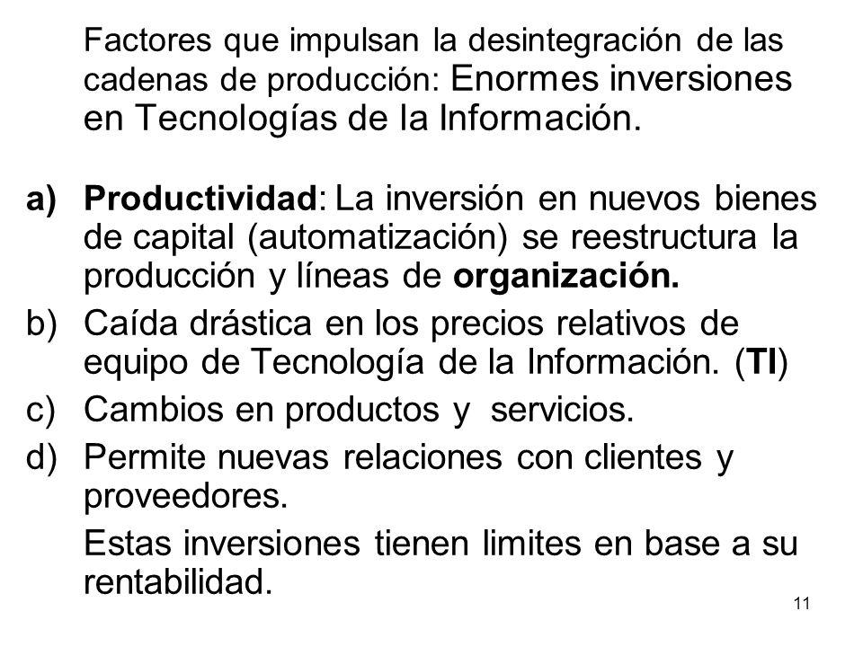 11 Factores que impulsan la desintegración de las cadenas de producción: Enormes inversiones en Tecnologías de la Información.