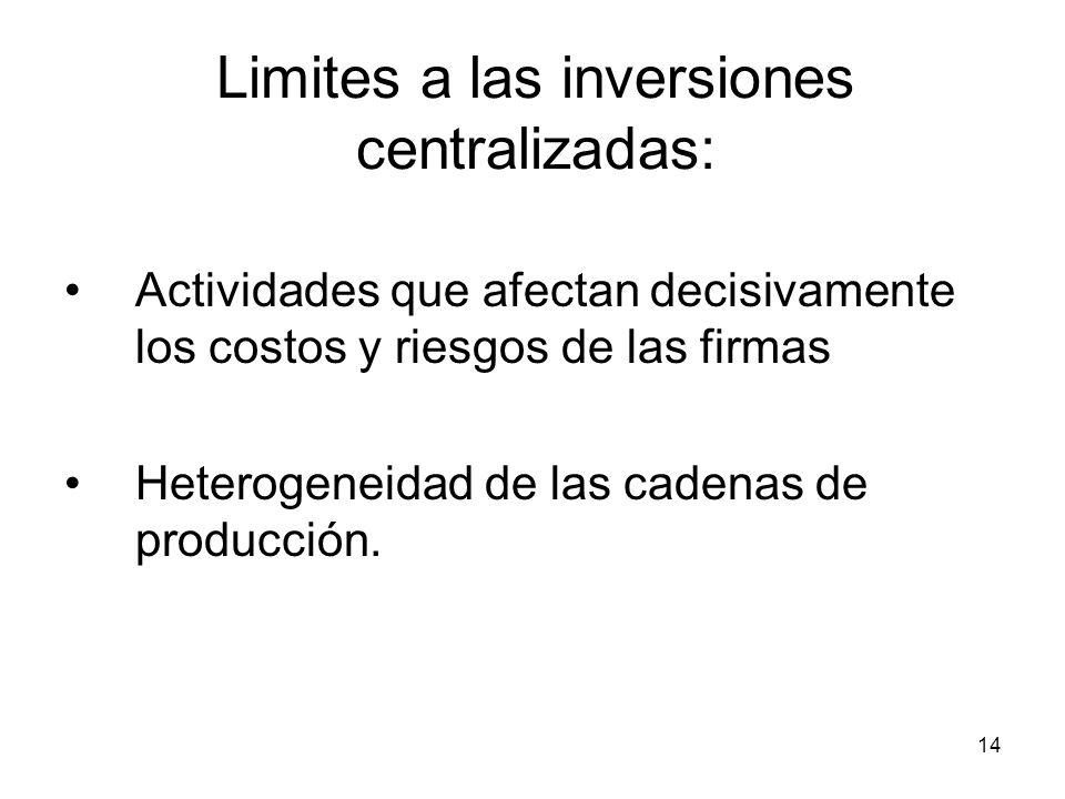14 Limites a las inversiones centralizadas: Actividades que afectan decisivamente los costos y riesgos de las firmas Heterogeneidad de las cadenas de producción.