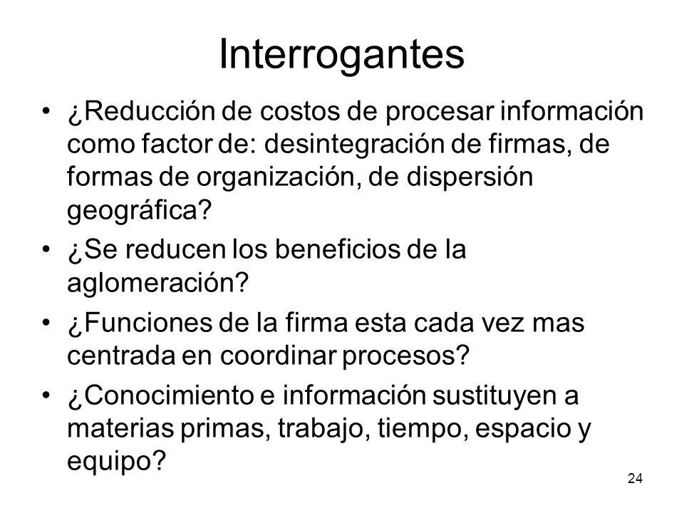 24 Interrogantes ¿Reducción de costos de procesar información como factor de: desintegración de firmas, de formas de organización, de dispersión geográfica.