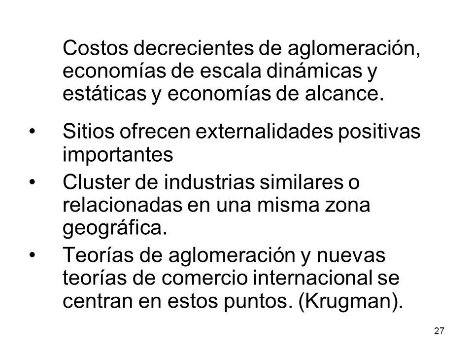 27 Costos decrecientes de aglomeración, economías de escala dinámicas y estáticas y economías de alcance.