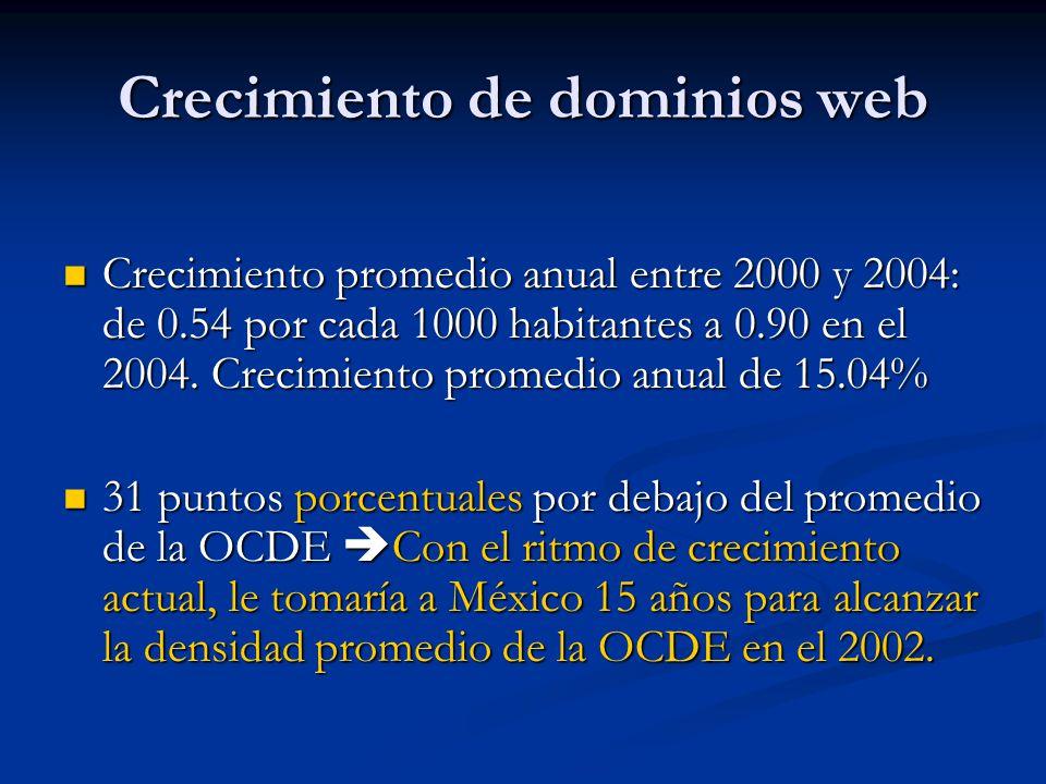 Crecimiento de dominios web Crecimiento promedio anual entre 2000 y 2004: de 0.54 por cada 1000 habitantes a 0.90 en el 2004. Crecimiento promedio anu