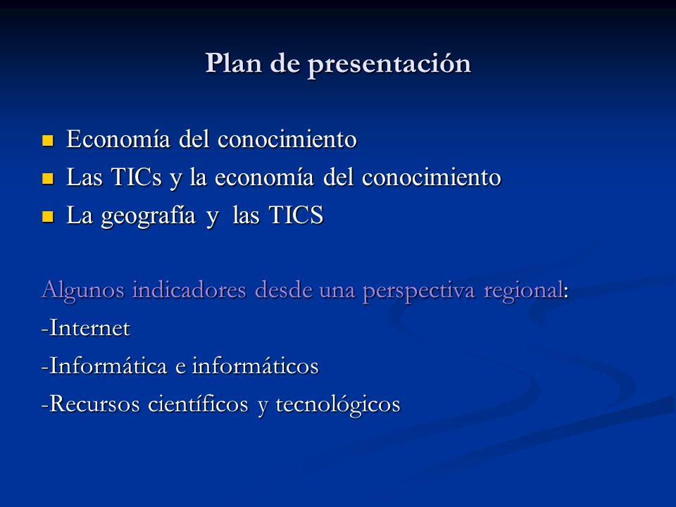 Plan de presentación Economía del conocimiento Economía del conocimiento Las TICs y la economía del conocimiento Las TICs y la economía del conocimien
