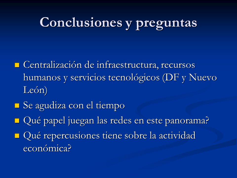 Conclusiones y preguntas Centralización de infraestructura, recursos humanos y servicios tecnológicos (DF y Nuevo León) Centralización de infraestruct