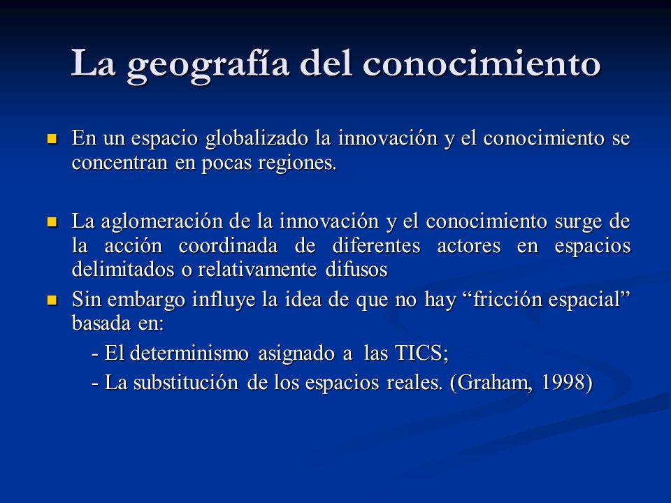 La geografía del conocimiento En un espacio globalizado la innovación y el conocimiento se concentran en pocas regiones. En un espacio globalizado la