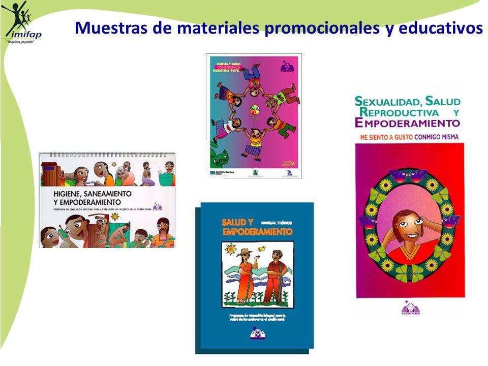 Muestras de materiales promocionales y educativos
