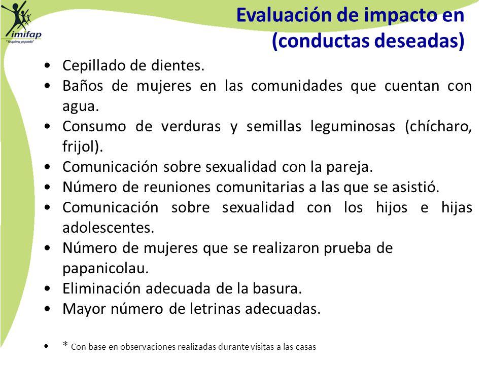 Evaluación de impacto en (conductas deseadas) Cepillado de dientes. Baños de mujeres en las comunidades que cuentan con agua. Consumo de verduras y se
