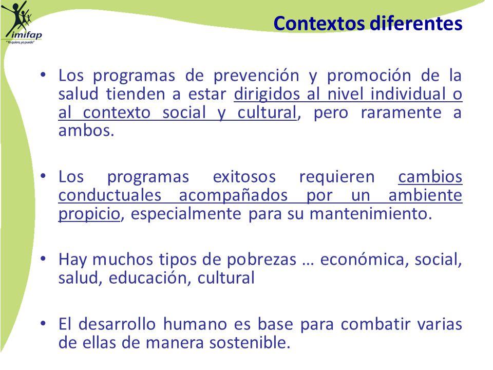 Los programas de prevención y promoción de la salud tienden a estar dirigidos al nivel individual o al contexto social y cultural, pero raramente a am