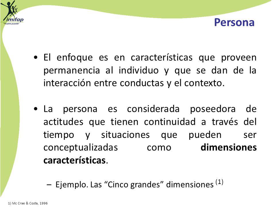 El enfoque es en características que proveen permanencia al individuo y que se dan de la interacción entre conductas y el contexto. La persona es cons