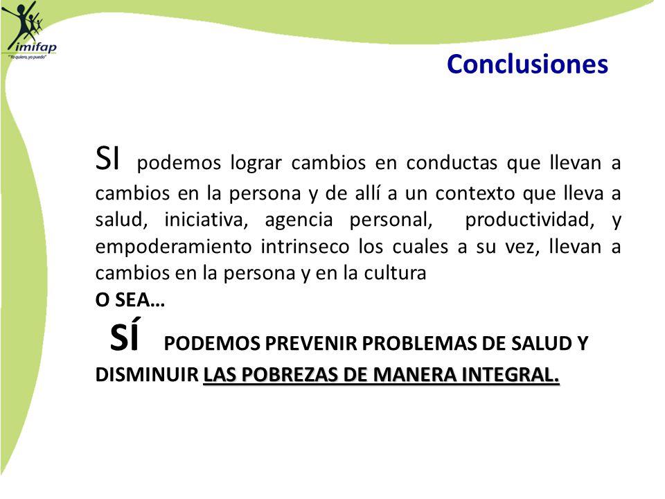 Conclusiones SI podemos lograr cambios en conductas que llevan a cambios en la persona y de allí a un contexto que lleva a salud, iniciativa, agencia