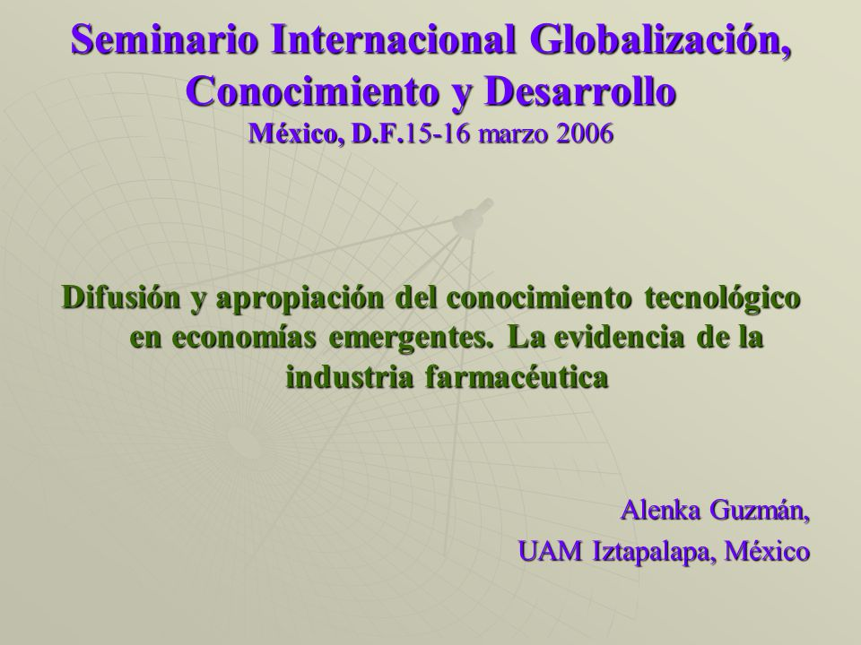 Objetivo En esta ponencia se examinan la difusión de conocimiento de los países industrializados y la asimilación en México, India y Corea del Sur en la industria farmacéutica utilizando la cita de patente como un indicador de flujo tecnológico.