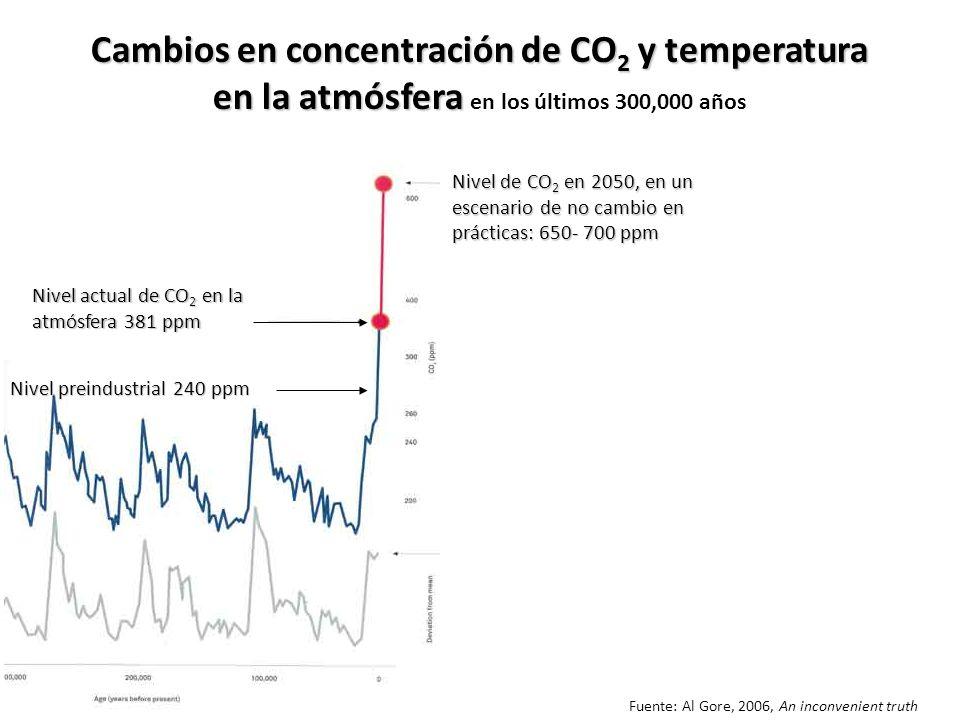 Nivel actual de CO 2 en la atmósfera 381 ppm Nivel de CO 2 en 2050, en un escenario de no cambio en prácticas: 650- 700 ppm Fuente: Al Gore, 2006, An inconvenient truth Cambios en concentración de CO 2 y temperatura en la atmósfera Cambios en concentración de CO 2 y temperatura en la atmósfera en los últimos 300,000 años Nivel preindustrial 240 ppm