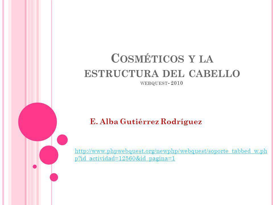 C OSMÉTICOS Y LA ESTRUCTURA DEL CABELLO WEBQUEST - 2010 E. Alba Gutiérrez Rodríguez http://www.phpwebquest.org/newphp/webquest/soporte_tabbed_w.ph p?i