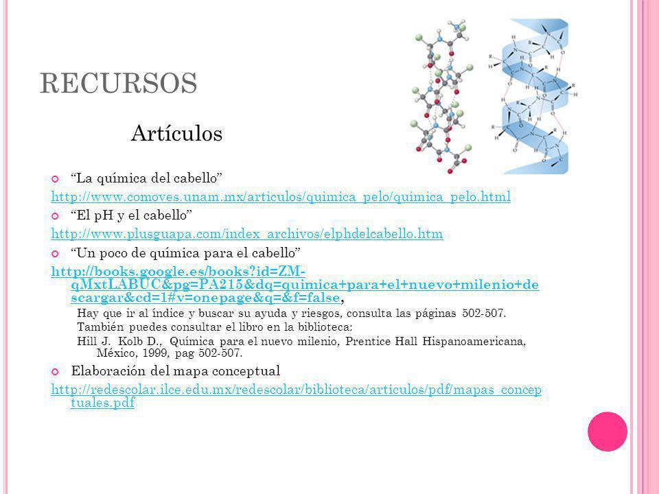 RECURSOS La química del cabello http://www.comoves.unam.mx/articulos/quimica_pelo/quimica_pelo.html El pH y el cabello http://www.plusguapa.com/index_