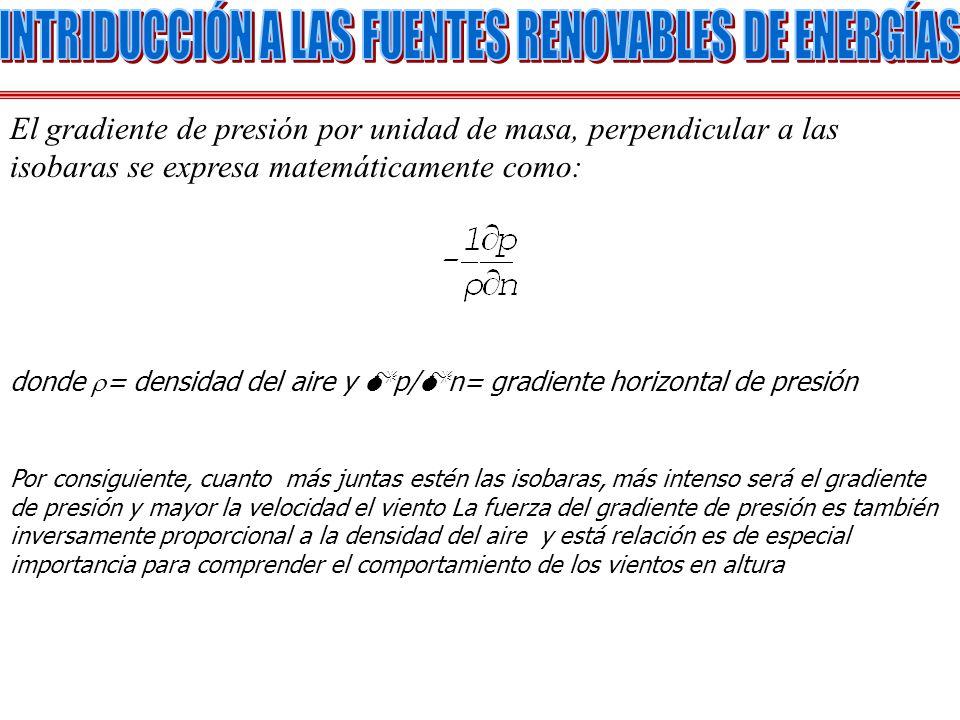 El gradiente de presión por unidad de masa, perpendicular a las isobaras se expresa matemáticamente como: donde = densidad del aire y p/ n= gradiente