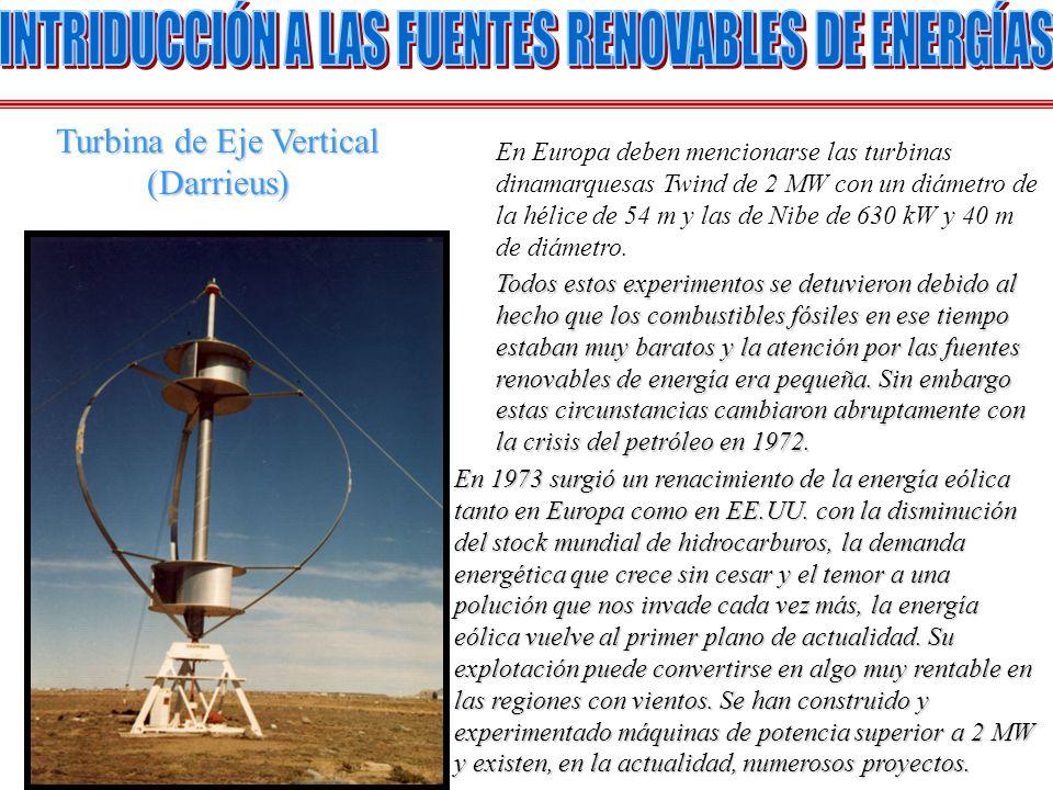 En Europa deben mencionarse las turbinas dinamarquesas Twind de 2 MW con un diámetro de la hélice de 54 m y las de Nibe de 630 kW y 40 m de diámetro.