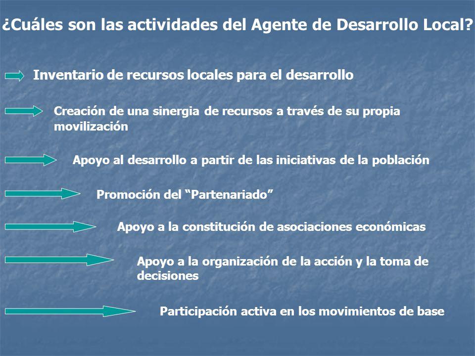 ¿Cuáles son las actividades del Agente de Desarrollo Local.