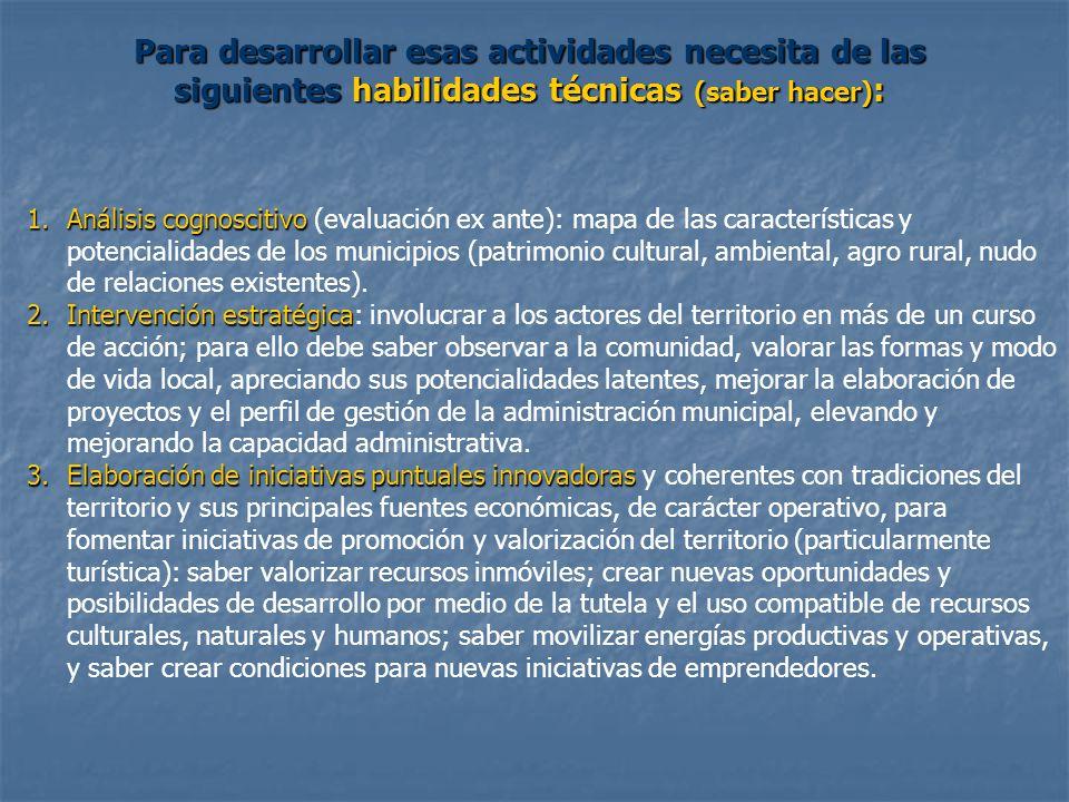 1.Análisis cognoscitivo 1.Análisis cognoscitivo (evaluación ex ante): mapa de las características y potencialidades de los municipios (patrimonio cultural, ambiental, agro rural, nudo de relaciones existentes).