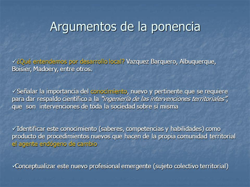 Argumentos de la ponencia ¿Qué entendemos por desarrollo local Vazquez Barquero, Albuquerque, Boisier, Madoery, entre otros.