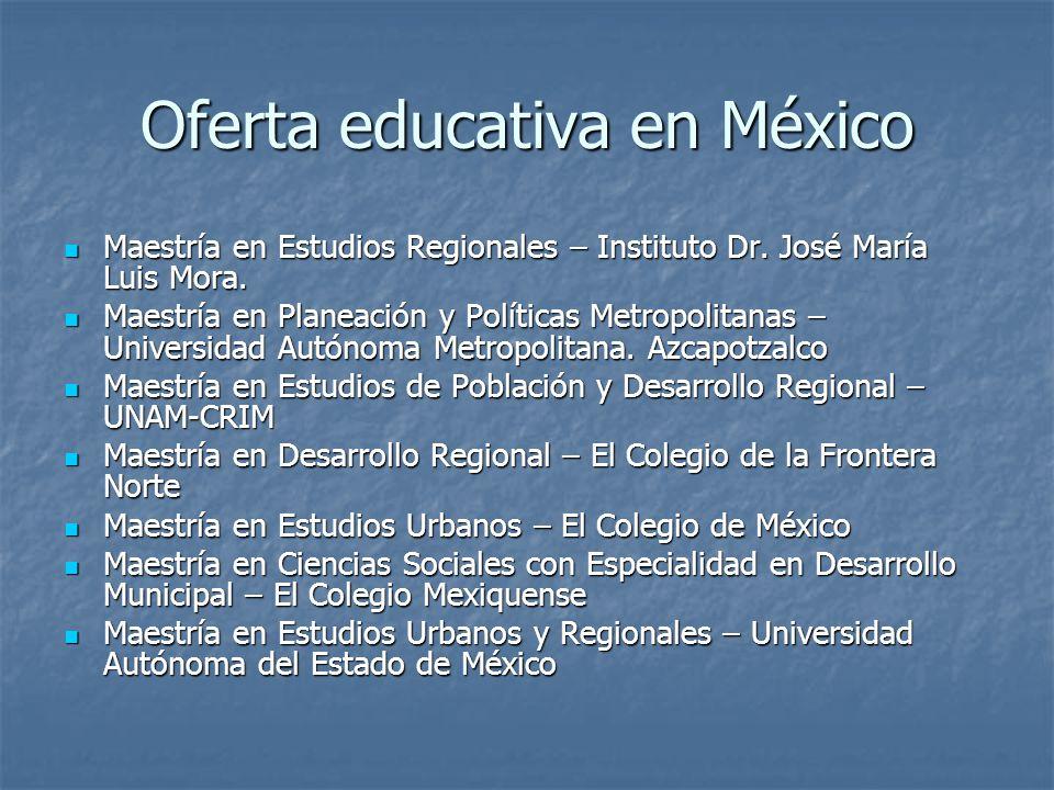 Oferta educativa en México Maestría en Estudios Regionales – Instituto Dr.