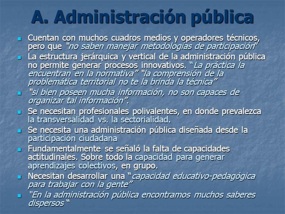 A. Administración pública Cuentan con muchos cuadros medios y operadores técnicos, pero que no saben manejar metodologías de participación Cuentan con