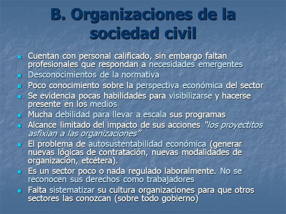B. Organizaciones de la sociedad civil Cuentan con personal calificado, sin embargo faltan profesionales que respondan a necesidades emergentes Cuenta