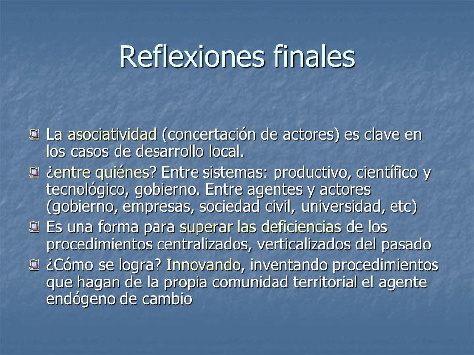 Reflexiones finales La asociatividad (concertación de actores) es clave en los casos de desarrollo local.