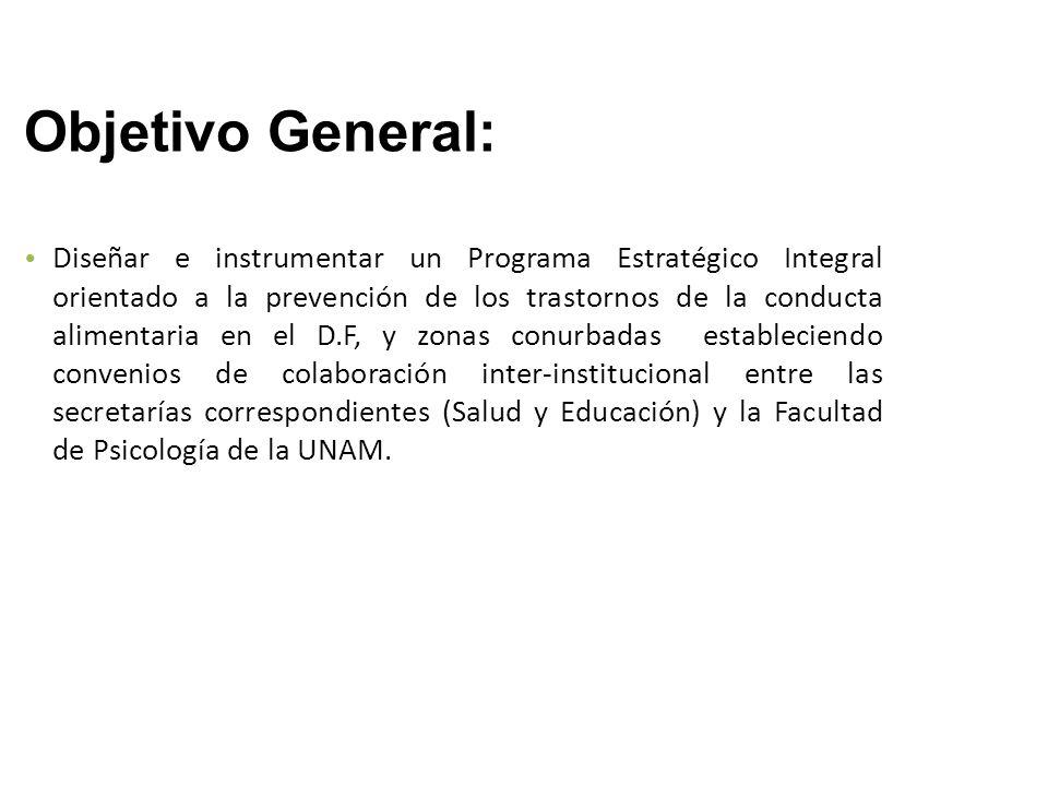 Objetivo General: Diseñar e instrumentar un Programa Estratégico Integral orientado a la prevención de los trastornos de la conducta alimentaria en el