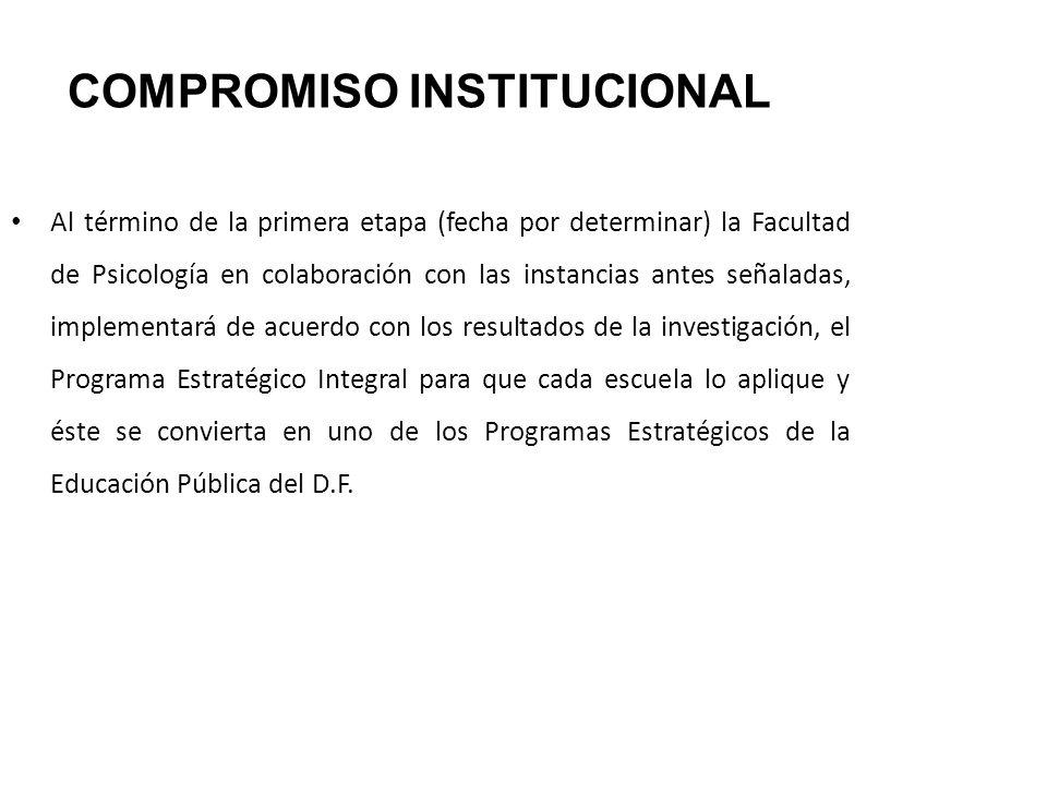 COMPROMISO INSTITUCIONAL Al término de la primera etapa (fecha por determinar) la Facultad de Psicología en colaboración con las instancias antes seña