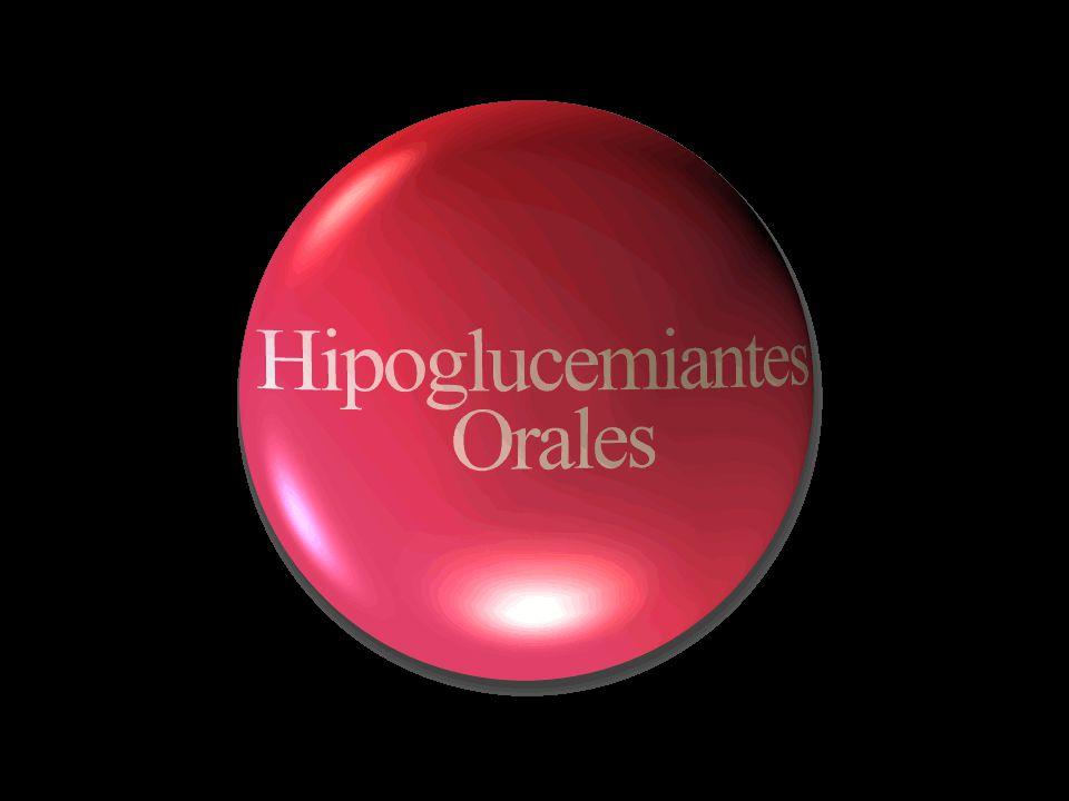 Hipoglucemiantes Orales Inhibidores de la α-glucosidasa Inhibidores de la α-glucosidasa Biguanidas Biguanidas Secretagogos de insulina Secretagogos de insulina Sintetizadores de insulina Sintetizadores de insulina Inhibidores de la lipasa intestinal Inhibidores de la lipasa intestinal