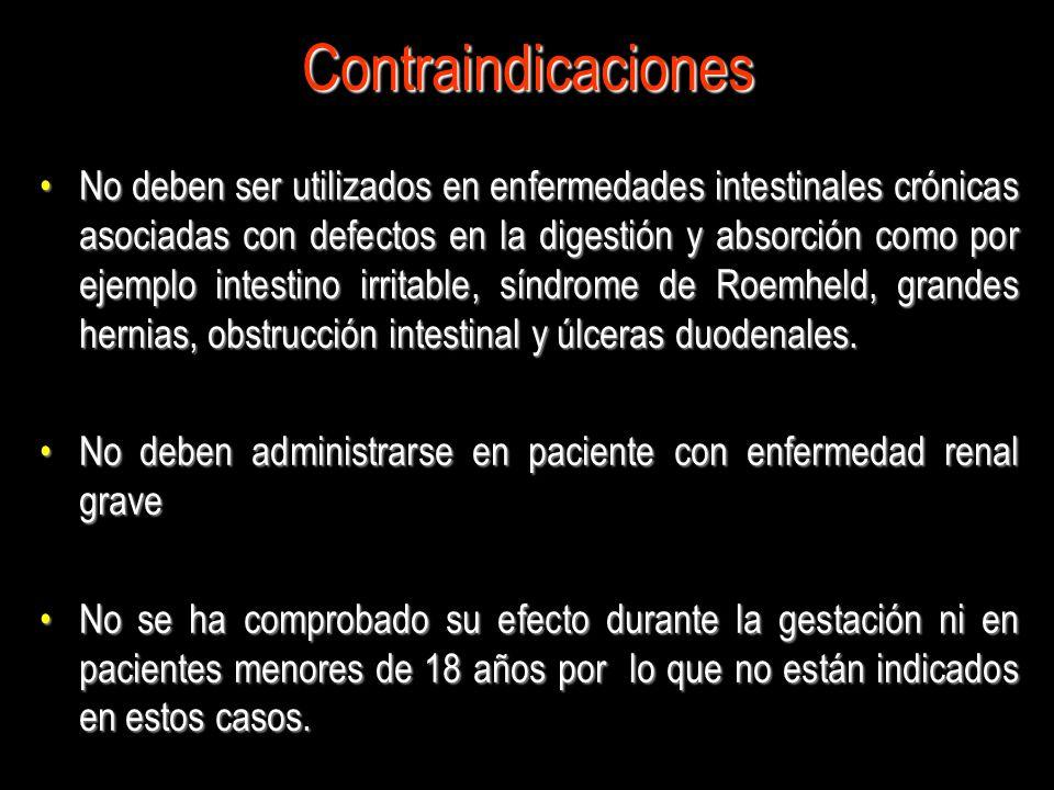 Contraindicaciones No deben ser utilizados en enfermedades intestinales crónicas asociadas con defectos en la digestión y absorción como por ejemplo i