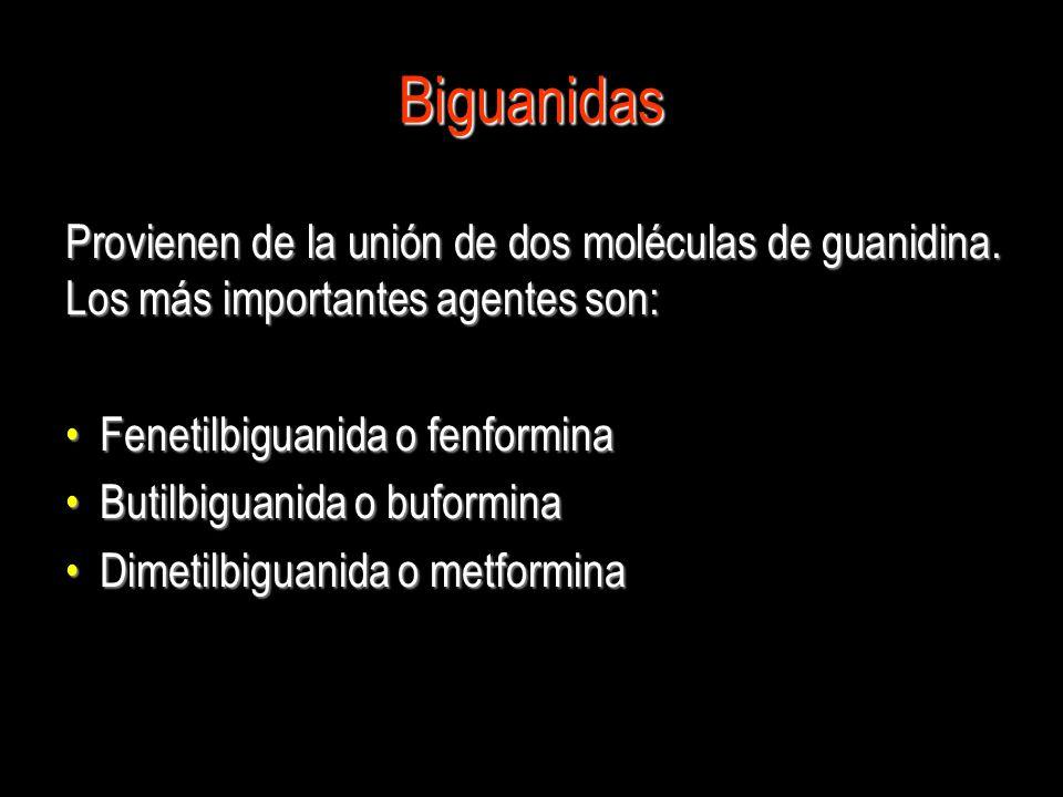 Biguanidas Provienen de la unión de dos moléculas de guanidina. Los más importantes agentes son: Fenetilbiguanida o fenformina Fenetilbiguanida o fenf
