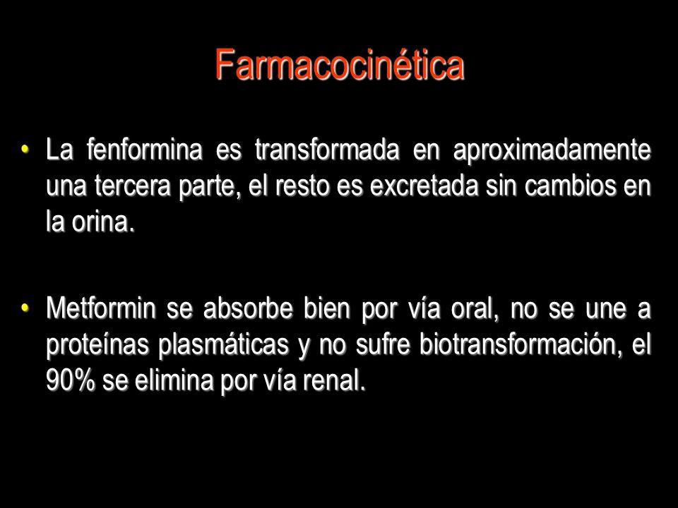 Farmacocinética La fenformina es transformada en aproximadamente una tercera parte, el resto es excretada sin cambios en la orina.La fenformina es tra
