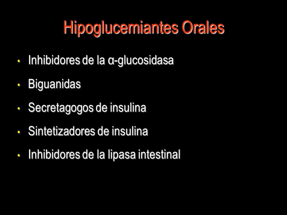 Hipoglucemiantes Orales Inhibidores de la α-glucosidasa Inhibidores de la α-glucosidasa Biguanidas Biguanidas Secretagogos de insulina Secretagogos de