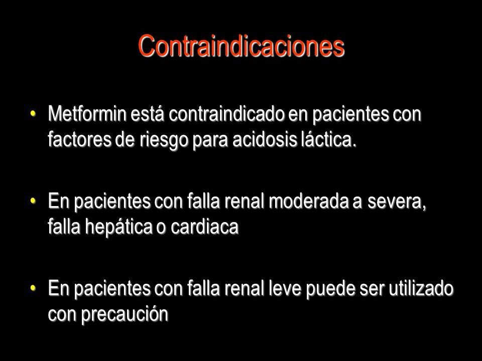 Contraindicaciones Metformin está contraindicado en pacientes con factores de riesgo para acidosis láctica.Metformin está contraindicado en pacientes