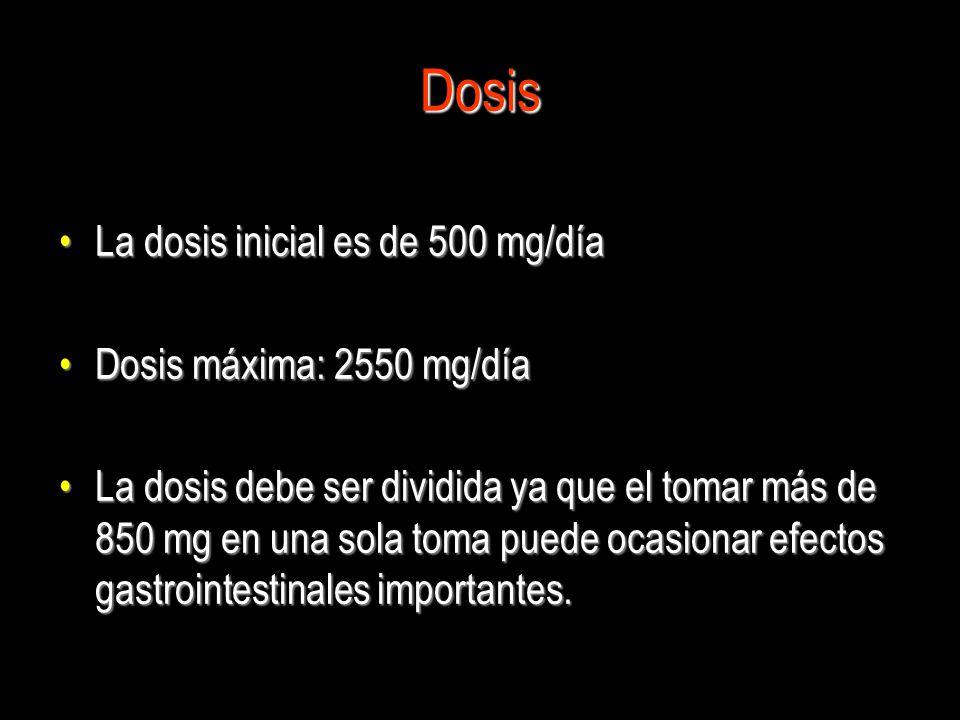 Dosis La dosis inicial es de 500 mg/díaLa dosis inicial es de 500 mg/día Dosis máxima: 2550 mg/díaDosis máxima: 2550 mg/día La dosis debe ser dividida