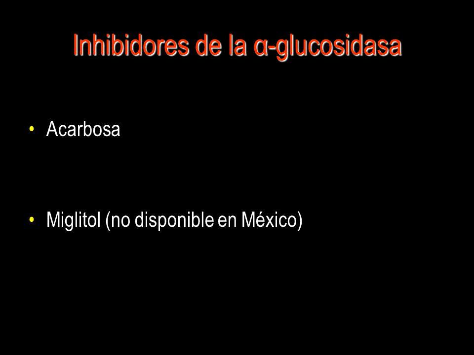 Mecanismo de acción Actúan inhibiendo a la α-glucosidasa, enzima responsable de romper los oligosacáridos y disacáridos en monosacáridos para permitir su absorción.Actúan inhibiendo a la α-glucosidasa, enzima responsable de romper los oligosacáridos y disacáridos en monosacáridos para permitir su absorción.