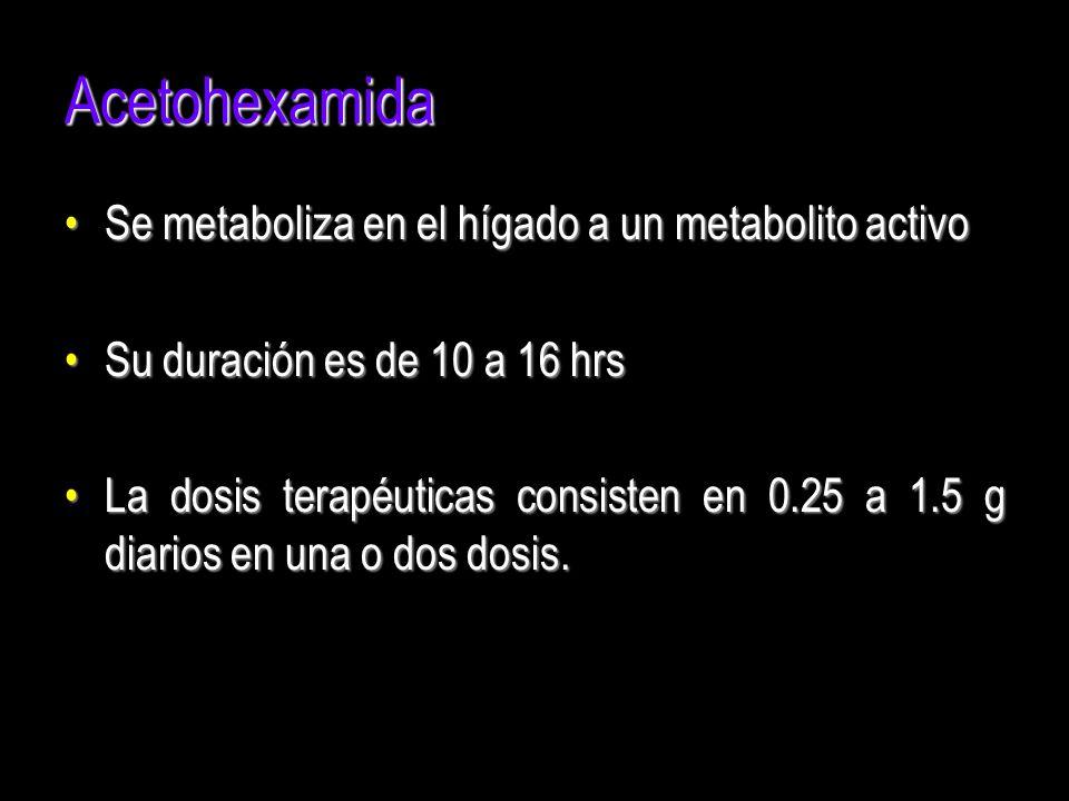 Acetohexamida Se metaboliza en el hígado a un metabolito activoSe metaboliza en el hígado a un metabolito activo Su duración es de 10 a 16 hrsSu durac