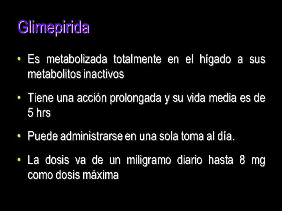 Glimepirida Es metabolizada totalmente en el hígado a sus metabolitos inactivosEs metabolizada totalmente en el hígado a sus metabolitos inactivos Tie
