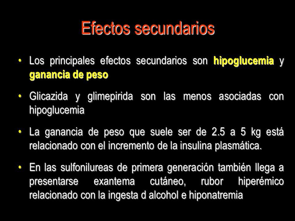 Efectos secundarios Los principales efectos secundarios son hipoglucemia y ganancia de pesoLos principales efectos secundarios son hipoglucemia y gana