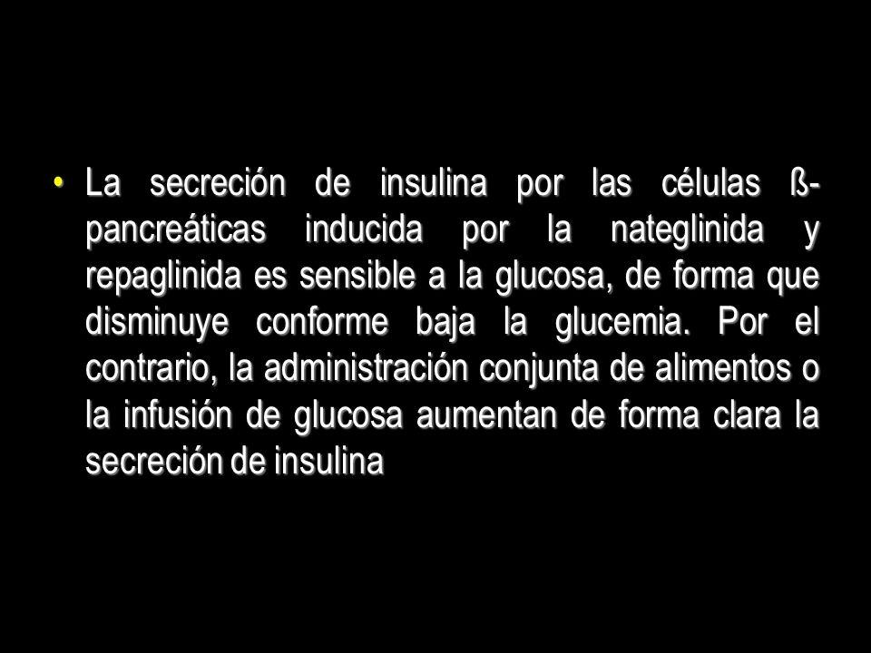 La secreción de insulina por las células ß- pancreáticas inducida por la nateglinida y repaglinida es sensible a la glucosa, de forma que disminuye co