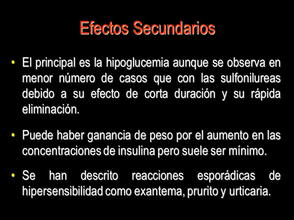 Efectos Secundarios El principal es la hipoglucemia aunque se observa en menor número de casos que con las sulfonilureas debido a su efecto de corta d