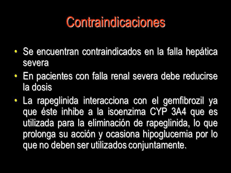 Contraindicaciones Se encuentran contraindicados en la falla hepática severaSe encuentran contraindicados en la falla hepática severa En pacientes con
