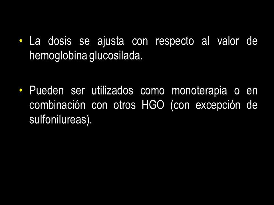 La dosis se ajusta con respecto al valor de hemoglobina glucosilada. Pueden ser utilizados como monoterapia o en combinación con otros HGO (con excepc