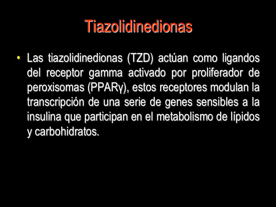 Tiazolidinedionas Las tiazolidinedionas (TZD) actúan como ligandos del receptor gamma activado por proliferador de peroxisomas (PPARγ), estos receptor