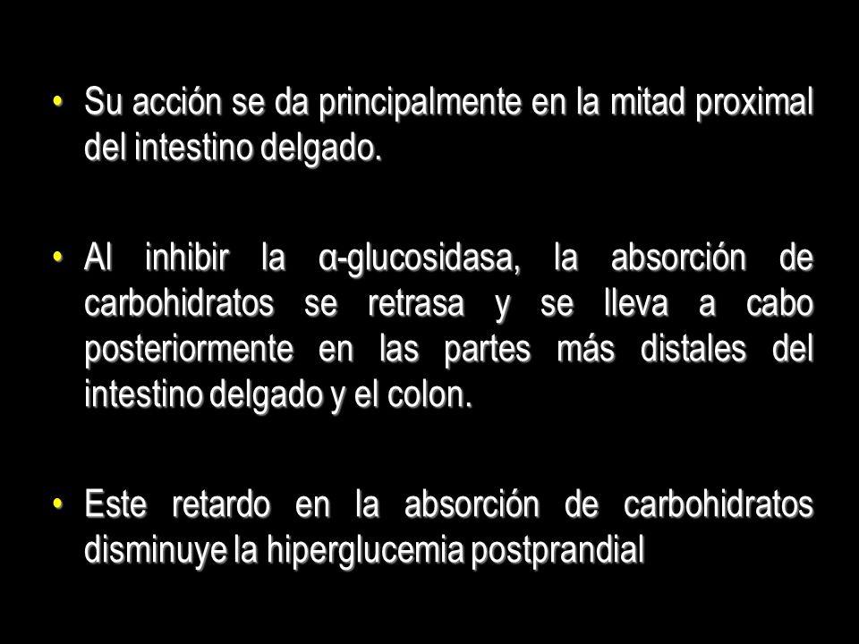 Eficacia El efecto en la disminución de la glucosa plasmática de los inhibidores de la α-glucosidasa es menor que el observado en otros HGO.El efecto en la disminución de la glucosa plasmática de los inhibidores de la α-glucosidasa es menor que el observado en otros HGO.