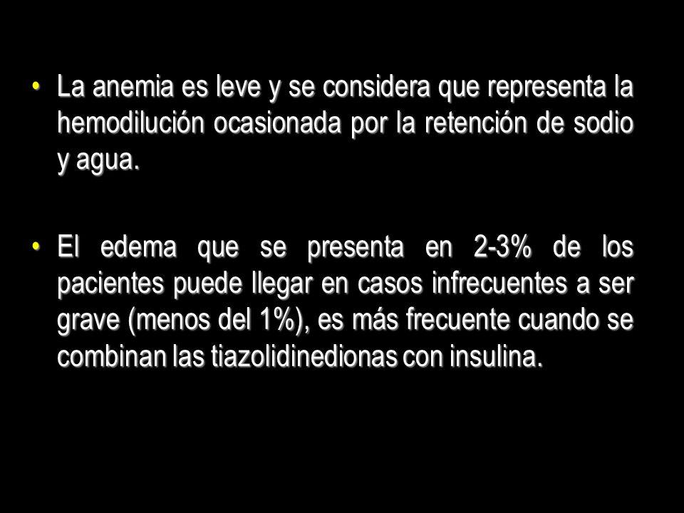 La anemia es leve y se considera que representa la hemodilución ocasionada por la retención de sodio y agua.La anemia es leve y se considera que repre