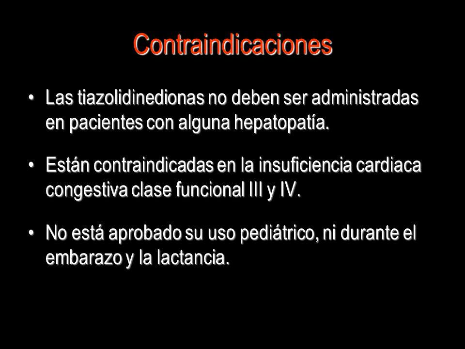Contraindicaciones Las tiazolidinedionas no deben ser administradas en pacientes con alguna hepatopatía.Las tiazolidinedionas no deben ser administrad