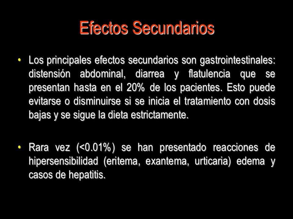 Efectos Secundarios Los principales efectos secundarios son gastrointestinales: distensión abdominal, diarrea y flatulencia que se presentan hasta en