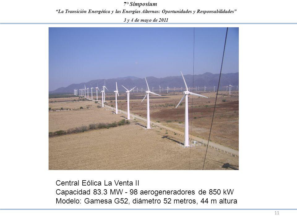 La Transición Energética y las Energías Alternas: Oportunidades y Responsabilidades 3 y 4 de mayo de 2011 7° Simposium 11 Central Eólica La Venta II C