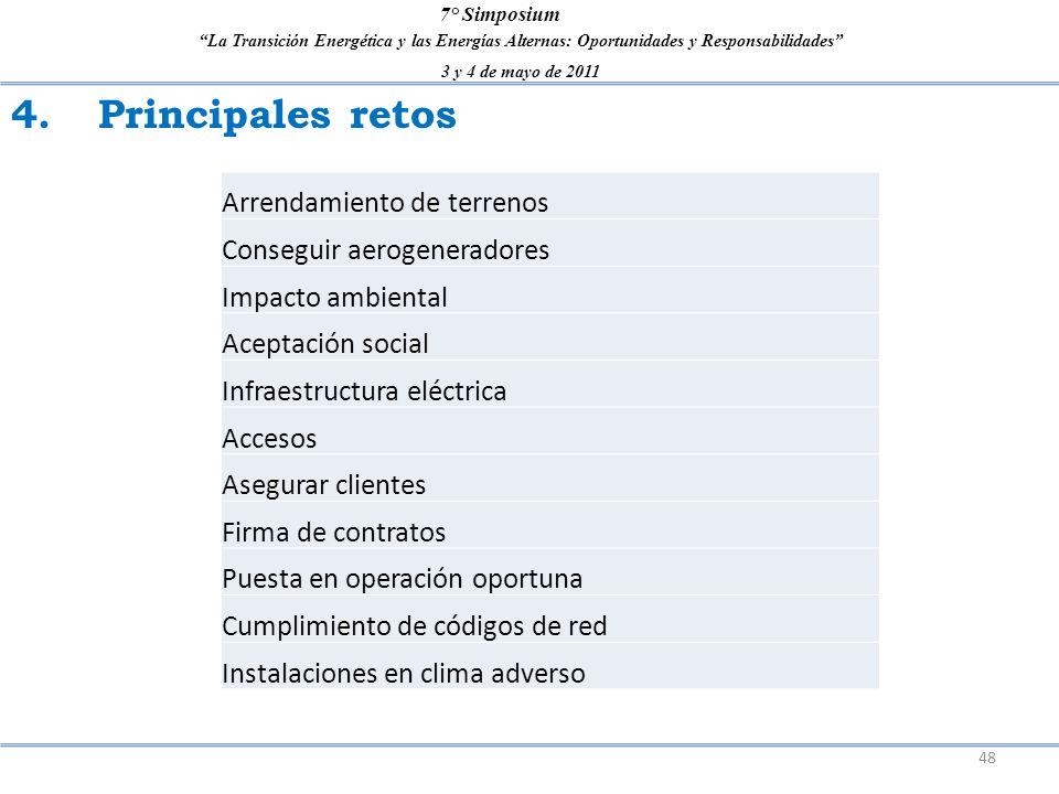 La Transición Energética y las Energías Alternas: Oportunidades y Responsabilidades 3 y 4 de mayo de 2011 7° Simposium 4. Principales retos 48 Arrenda